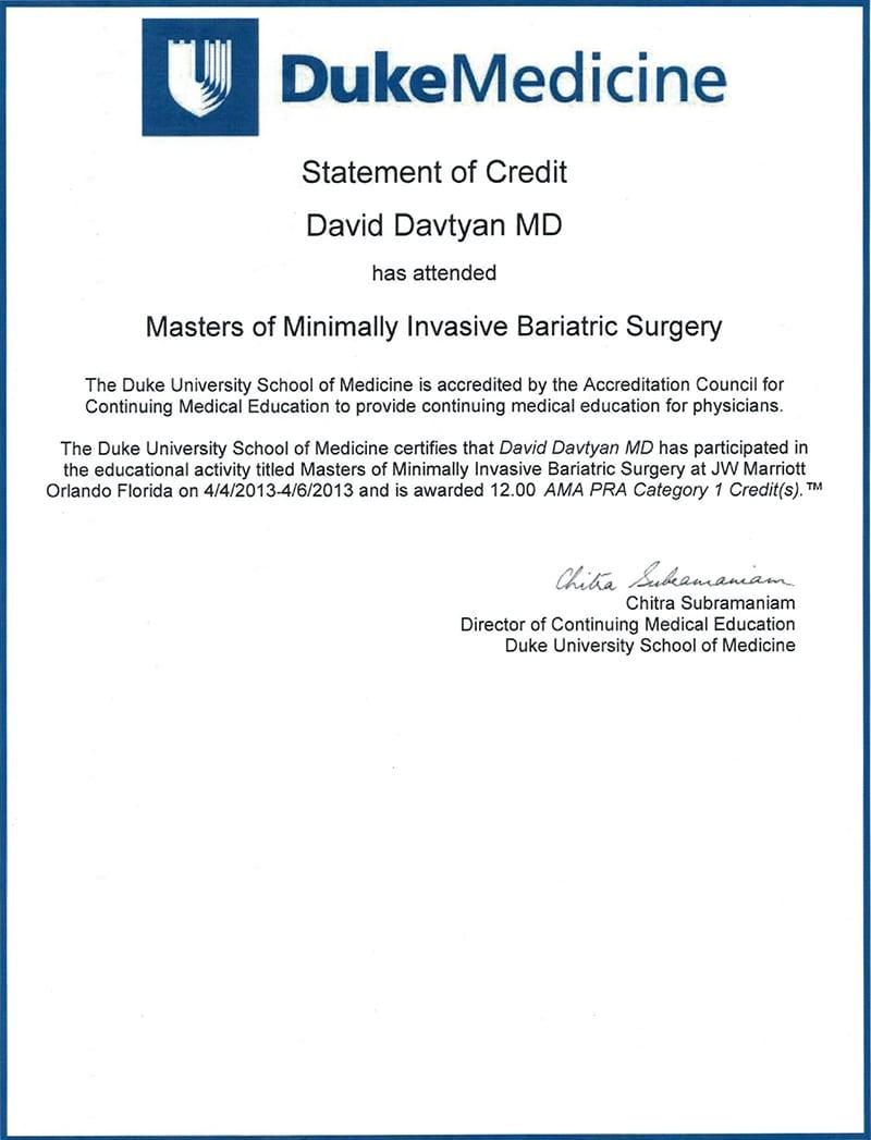 Dr  David Davtyan Qualification + Certifications