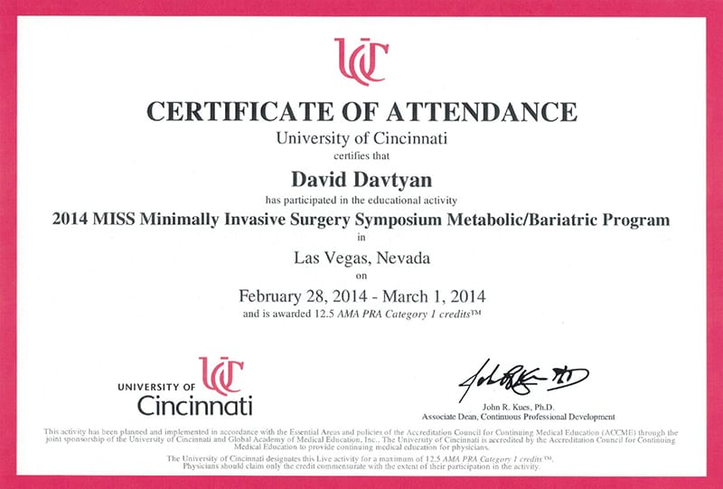 University of Cincinnati - 2014 MISS Minimally Invasive Surgery Symposium Metabolic/Bariatric Sessions