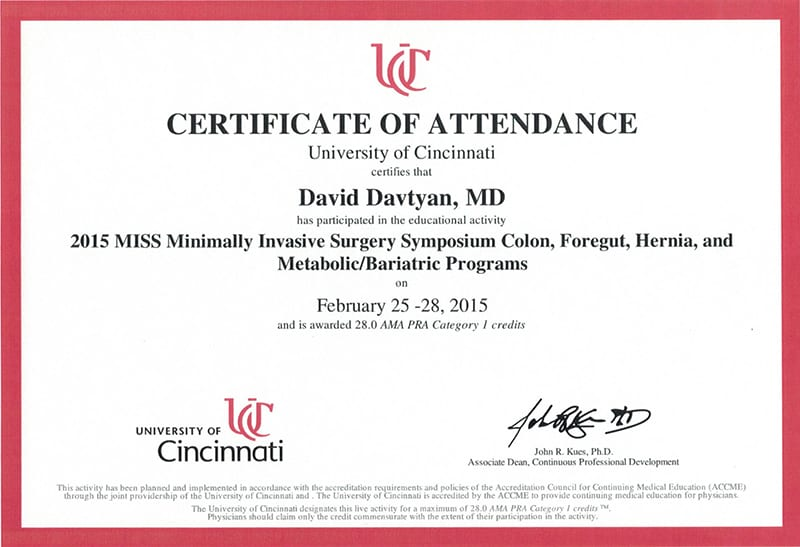 University of Cincinnati - 2013 MISS Minimally Invasive Surgery Symposium Metabolic/Bariatric Sessions